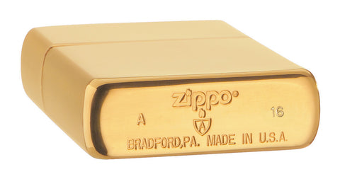 Bodenansicht Zippo Feuerzeug Armor High Polish Brass Basis Modell