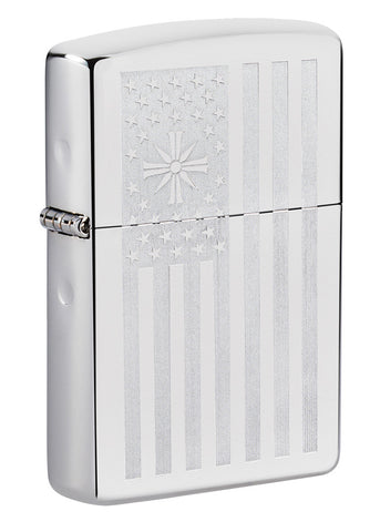 Frontansicht 3/4 Winkel Zippo Feuerzeug High Polish Chrome mit Far Cry Logo