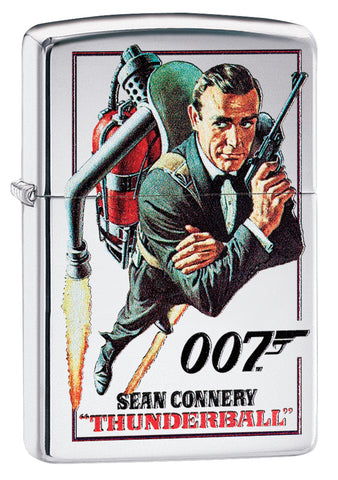 Frontansicht 3/4 Winkel Zippo Feuerzeug chrom Sean Connery in Thunderball