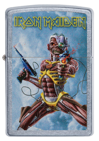 Frontansicht Zippo Feuerzeug chrom Iron Maiden Albumcover Somewhere Back In Time