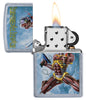 Zippo Feuerzeug chrom Iron Maiden Albumcover Somewhere Back In Time geöffnet mit Flamme