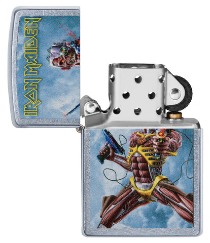 Zippo Feuerzeug chrom Iron Maiden Albumcover Somewhere Back In Time geöffnet