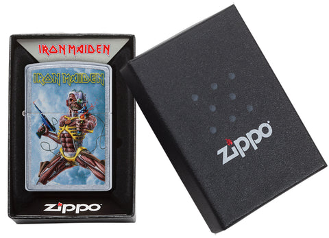 Zippo Feuerzeug chrom Iron Maiden Albumcover Somewhere Back In Time in offener Box