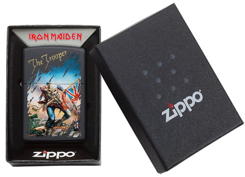 Zippo Feuerzeug schwarz Iron Maiden Single Cover The Trooper in offener Box