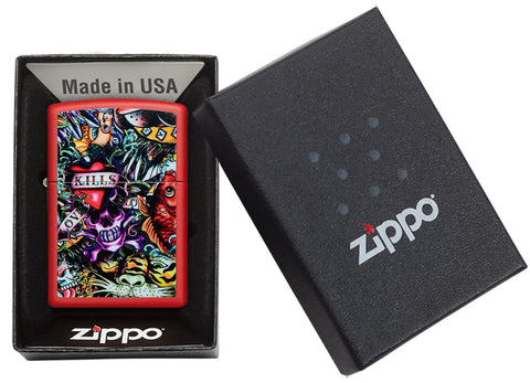 Zippo Feuerzeug rot Tattoobilder Collage in offener Box