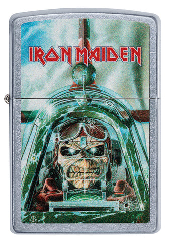 Frontansicht Zippo Feuerzeug Iron Maiden Single Cover Aces High