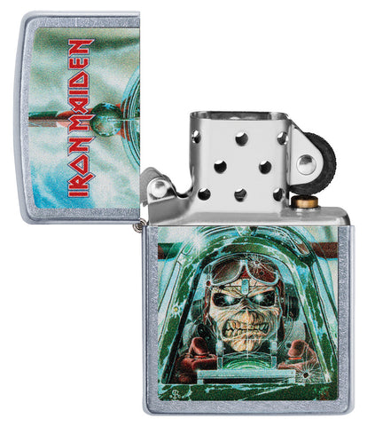 Zippo Feuerzeug Iron Maiden Single Cover Aces High geöffnet