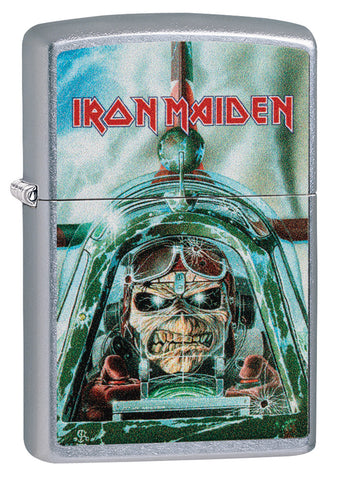 Frontansicht 3/4 Winkel Zippo Feuerzeug Iron Maiden Single Cover Aces High