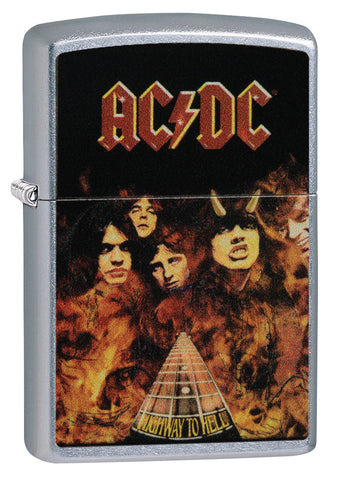 Frontansicht 3/4 Winkel Zippo Feuerzeug AC/DC Cover Highway to Hell