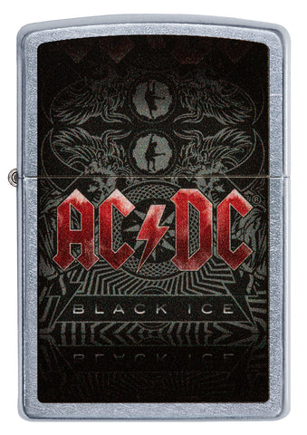 Frontansicht Zippo Feuerzeug AC/DC Cover Black Ice