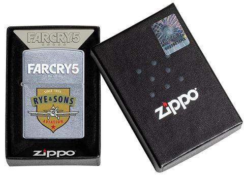 Zippo Feuerzeug chrom Far Cry 5 Rye & Sons Logo in offener Schachtel