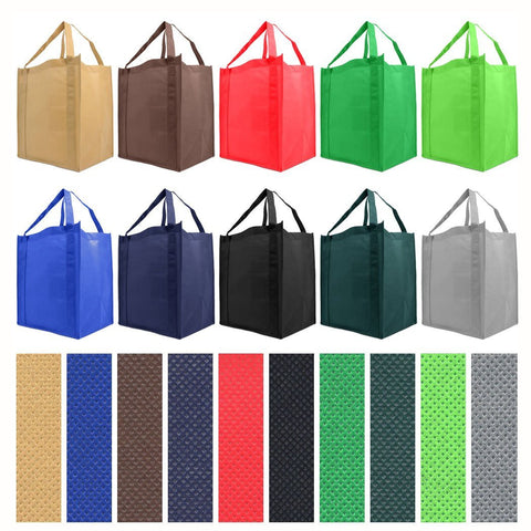 Reusable Reinforced Handle Grocery Tote Bag Large Case of 100 - 10 Pack Color Variety