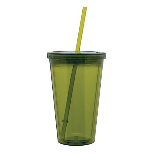 Eco To Go Cold Drink Tumbler - double wall - 16oz. capacity - olive green