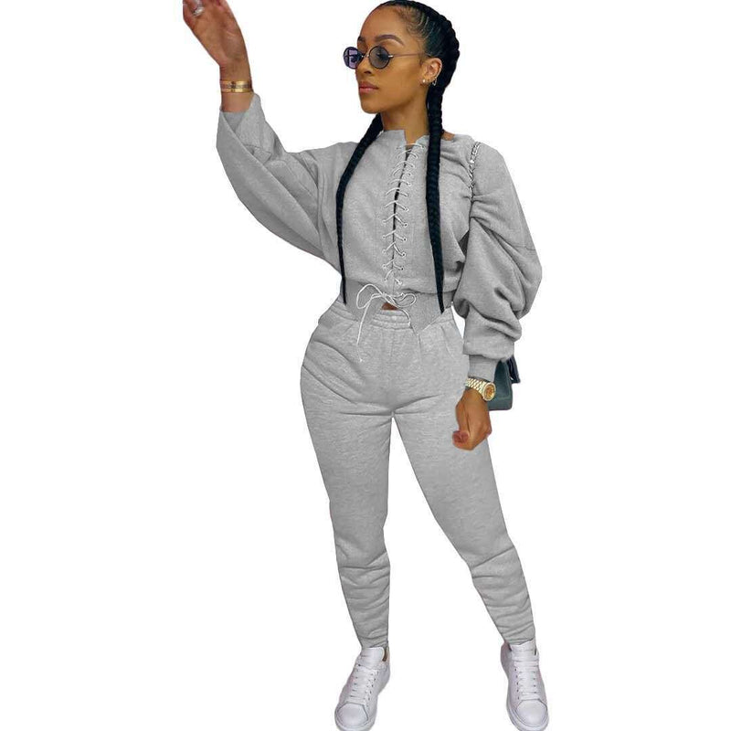 Two-Piece Tracksuit Cross Straps Long Sleeve