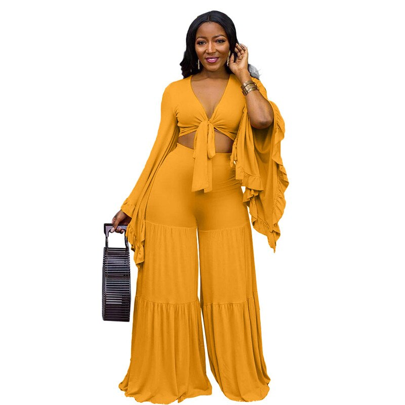 Ruffle Sleeve V-neck Top & Trousers Set