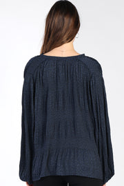 Star Accordion Long Sleeve Blouse