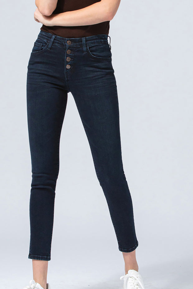 FLYING MONKEY Exposed Button Dark Wash Skinny Jean