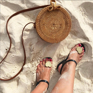 Zhoelala Black with Gold heart Sandal at beach with purse sandal
