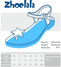 Load image into Gallery viewer, Zhoelala Black with Gold heart Sandal size chart