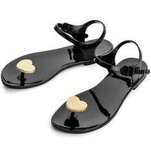 Load image into Gallery viewer, Zhoelala Black with Gold heart Sandal