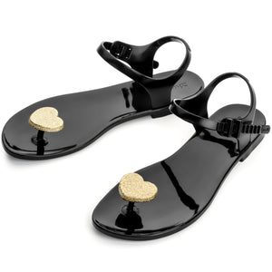 Zhoelala Black with Gold heart Sandal