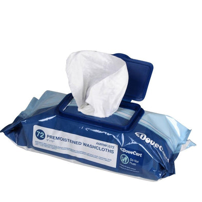 Premoistened Disposable Washcloths - 72 Pack - DoveCart.com