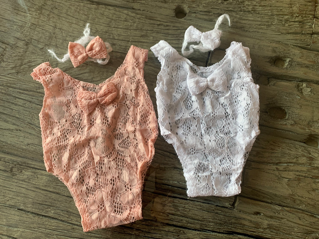 Newborn romper with head tie - Design by C