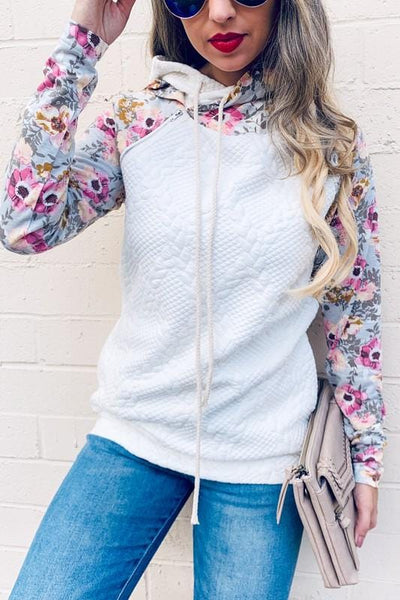 Quilted Floral Hoodie (All Option Sizing)