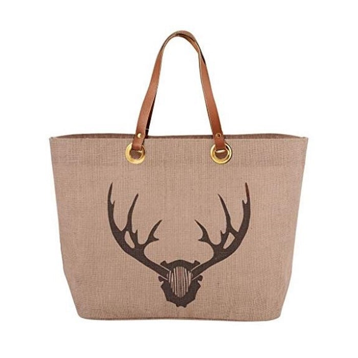 Tan Stag Horn Jute Tote with The Lodge at Torrey Pines