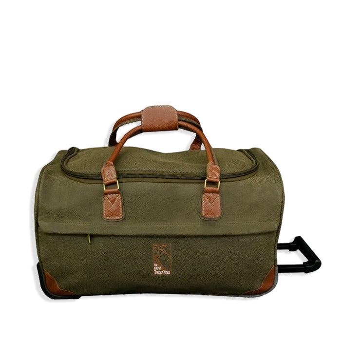 Rolling Duffle Bag in millwood green with The Lodge at Torrey Pines logo.