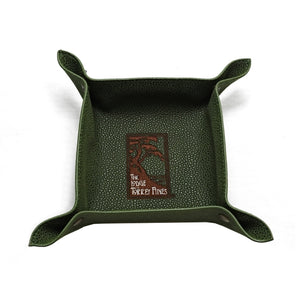 Top view of green valet tray in faux suede with The Lodge at Torrey Pines logo