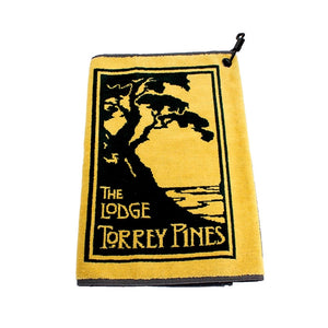 Golf Towel in Black and Yellow with The Lodge at Torrey Pines logo