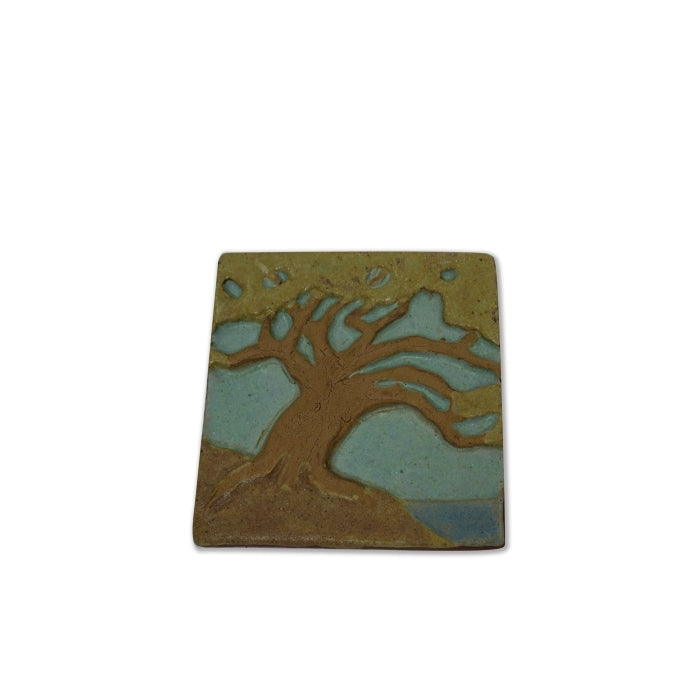 Clay Tile of a Torrey Pine tree by the shore created by Laird Plumleigh
