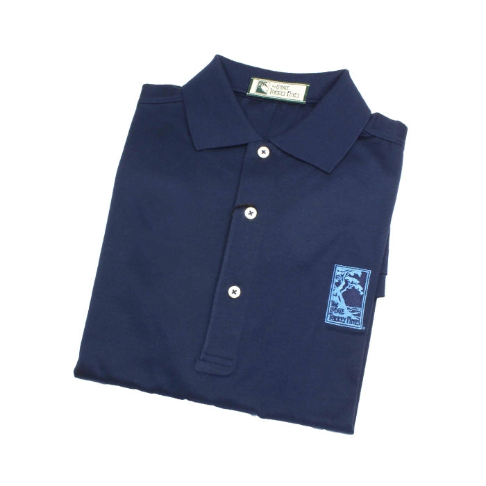 Men's polo shirt in navy blue featuring The Lodge at Torrey Pines logo on the chest