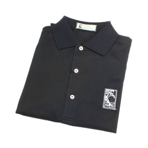 Men's polo shirt in black featuring The Lodge at Torrey Pines logo on the chest
