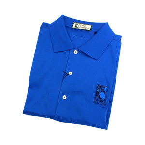 Men's polo shirt in royal blue featuring The Lodge at Torrey Pines logo on the chest