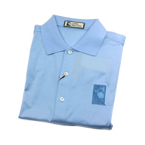 Men's polo shirt in light blue featuring The Lodge at Torrey Pines logo on the chest