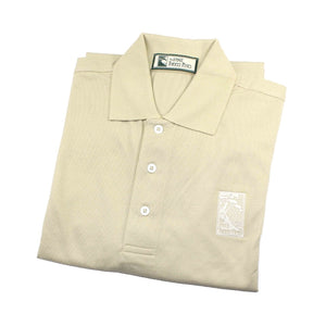 Men's polo shirt in tan featuring The Lodge at Torrey Pines logo on the chest