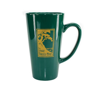 Latte mug in green with The Lodge at Torrey Pines logo
