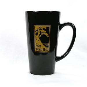Latte mug in black a with The Lodge at Torrey Pines logo
