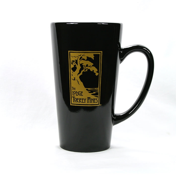 Latte mug in black and green with The Lodge at Torrey Pines logo