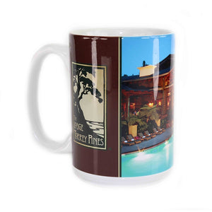 Coffee mug with a photo of The Lodge and Pool on one side and The Lodge at Torrey Pines logo on the other.