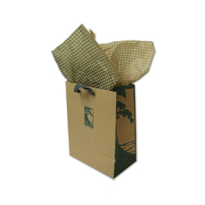 Small kraft and green gift bag with checked tissue paper and The Lodge at Torrey Pines logo