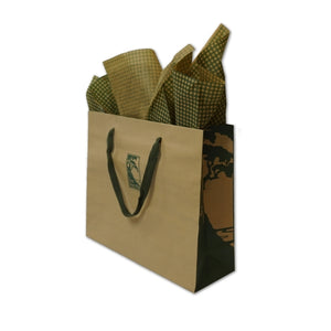 Large kraft and green gift bag with checked tissue paper and The Lodge at Torrey Pines logo