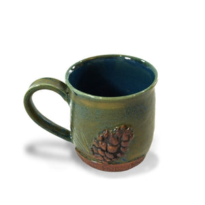 Pine Cone Hand-crafted Clay Mug by Ellyn Hartman