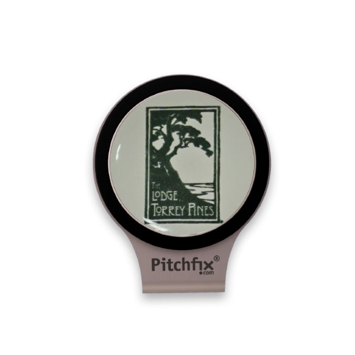 Hat clip with black trim ball marker with The Lodge at Torrey Pines