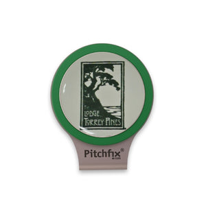 Hat clip with green trim ball marker with The Lodge at Torrey Pines