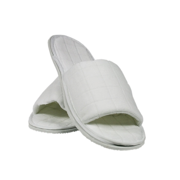White slippers with window pattern design