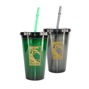 Acrylic tumblers with lids and straws in green and black with The Lodge at Torrey Pines logo