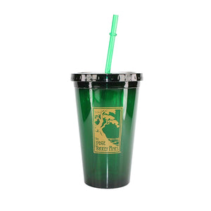 Green acrylic tumblers with lids and straws with The Lodge at Torrey Pines logo